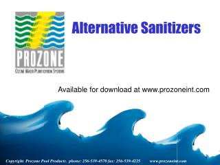 Copyright. Prozone Pool Products.  phone: 256-539-4570 fax: 256-539-4225         prozoneint