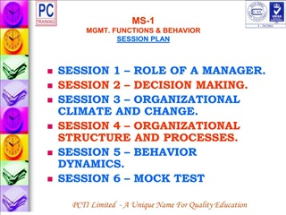 MS-1 MGMT. FUNCTIONS  BEHAVIOR SESSION PLAN