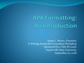 APA Formatting:  An Introduction