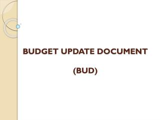 BUDGET UPDATE DOCUMENT (BUD)