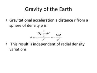 Gravity of the Earth