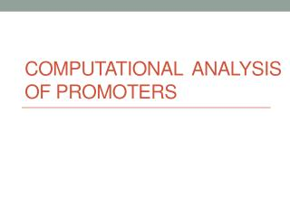 Computational  analysis of PromoterS