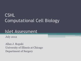CSHL  Computational Cell Biology Islet Assessment