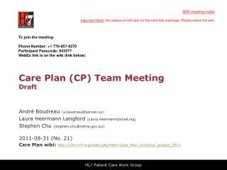 Care Plan (CP) Team Meeting Draft