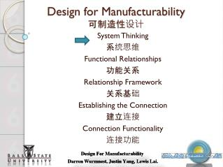 Design for Manufacturability ??????