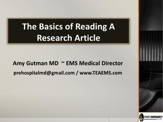 The Basics of Reading A Research Article