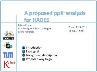 A proposed  ppK -  analysis for HADES