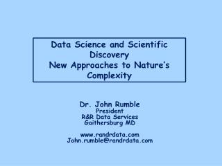Data Science and Scientific Discovery New Approaches to Nature's Complexity