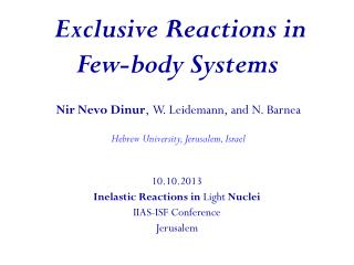 Exclusive Reactions in Few-body Systems