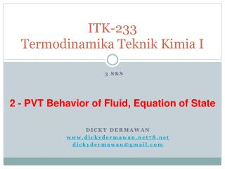 ITK-233 Termodinamika Teknik Kimia I