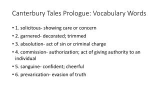 Canterbury Tales Prologue: Vocabulary Words