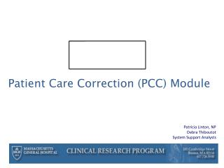Patient Care Correction (PCC) Module