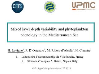 Mixed layer depth variability and phytoplankton  phenology  in the Mediterranean Sea