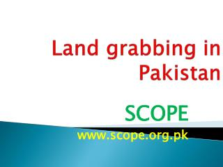 Land grabbing in Pakistan