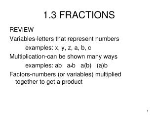 1.3 FRACTIONS