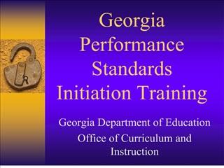 Georgia Performance Standards Initiation Training