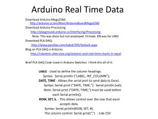 Arduino  Real Time Data