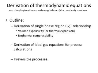 Derivation of thermodynamic equations