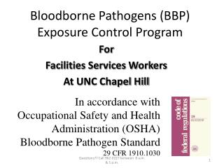 Bloodborne Pathogens (BBP) Exposure Control Program