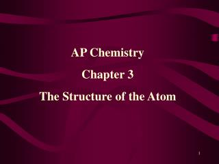 AP Chemistry Chapter 3 The Structure  of the Atom