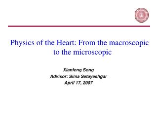 Physics of the Heart: From the macroscopic to the microscopic