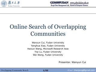 Online Search of Overlapping Communities