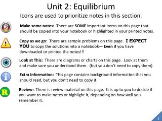 Unit 2: Equilibrium Icons are used to prioritize notes in this section.
