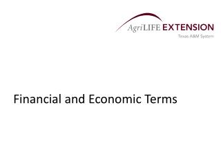 Financial and Economic Terms