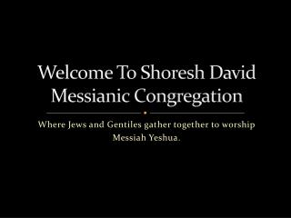 Welcome To  Shoresh  David  Messianic  Congregation
