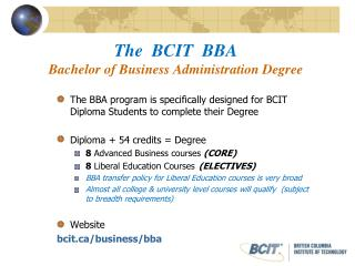 The  BCIT  BBA Bachelor of Business Administration Degree