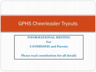 GPHS Cheerleader Tryouts