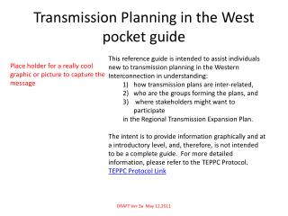 Transmission Planning in the West pocket guide