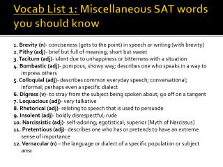 Vocab List 1:  Miscellaneous SAT words you should know