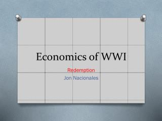 Economics of WWI