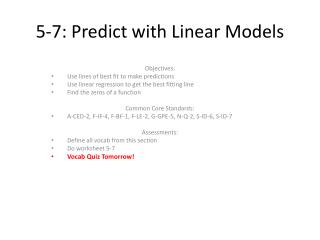 5-7: Predict with Linear Models