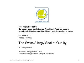 aha! Swiss  Allergy  Center Swiss  patient organisation non-profit ISO- certified foundation