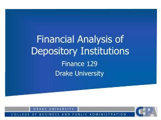 Financial Analysis of Depository Institutions