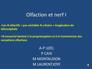 Olfaction et nerf I