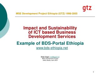 MSE Development Project Ethiopia (GTZ) 1998-2005