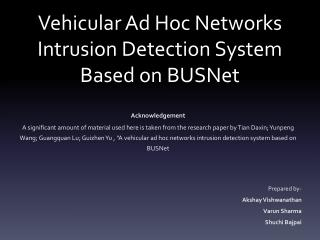 Vehicular Ad Hoc Networks Intrusion Detection System Based on BUSNet