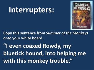Copy this sentence from  Summer of the Monkeys onto your white board.