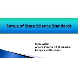 Status of State Science Standards te