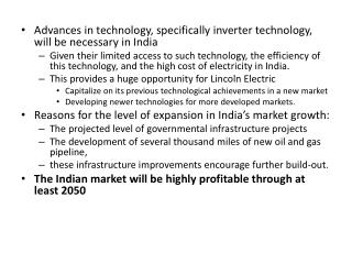 Advances in technology, specifically inverter technology, will be necessary in  India