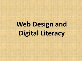 Web Design and Digital Literacy