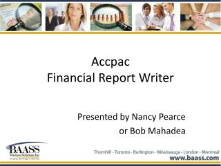 Accpac  Financial Report Writer