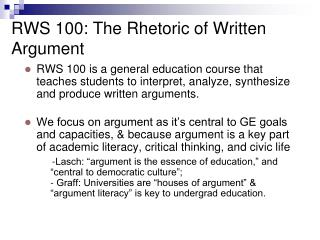 RWS 100: The Rhetoric of Written Argument