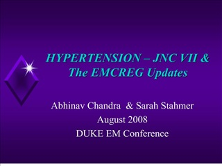 HYPERTENSION -  JNC VII The EMCREG Updates