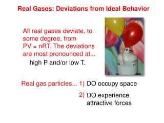 Real Gases: Deviations from Ideal Behavior