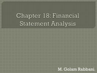 Chapter 18: Financial Statement Analysis