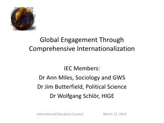 Global Engagement Through Comprehensive Internationalization